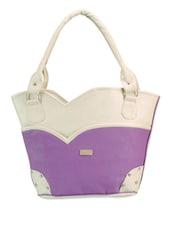 Smart Purple And White Tote - Bags Craze