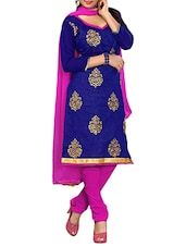Royal Blue Embroidered Un-Stitched  Dress Material - By