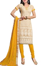 Beige Super Net Unstitched Dress Material - By