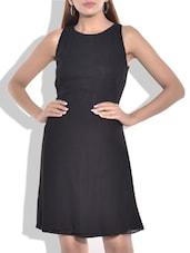 Black Poly Georgette Dress - By