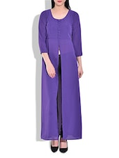 Purple Poly Georgette Padded Cape - By