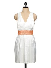 White Pleated Lace Belt Dress - Ozel Studio