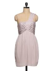 One Shoulder Pleated Grey Dress - Ozel Studio