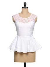 White Cotton-Lace Peplum Top - Ozel Studio