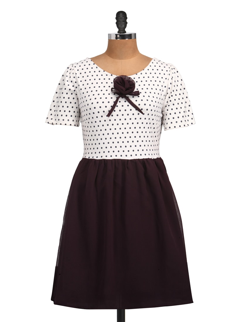 White & Plum Polyester Polka Dress - Golden Couture