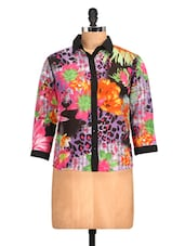 Floral & Animal Digital Print Shirt - Golden Couture