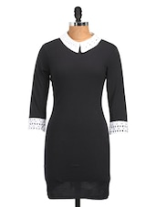 Schiffly Collar Black Cotton Knit Dress - Golden Couture