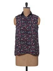 Multicoloured Printed Sleeveless Polyester Shirt - VAAK