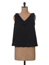 Black Polyester Top With Frill At Neckline - VAAK