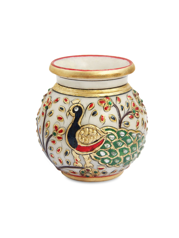 259 & Marble Flower Vase Pot Lota Enamel Peacock Design
