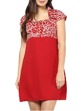 Red Geometric Print Square Neckline Dress - By