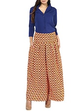 Royal Blue And Yellow Chevron Maxi Dress - By