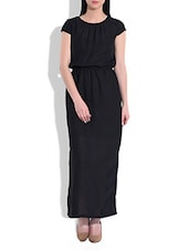 Solid Black Crepe Maxi Dress - By
