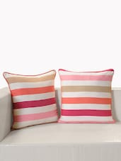 "Striped Vibrant Colour Cushion Cover (Set Of 2) 12""X12"" - SWAYAM"