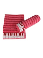 Classy Pink Piano Keys Cotton Hand Towel Set Of 2 - Just Linen