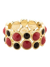 Sparkling Bracelet With Black And Red Color Stones - Voylla