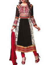 Black & White Georgette Dress Material - By