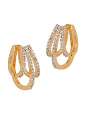 Gold Plated Hoop Earrings With Resplendent Cz Stones - Voylla