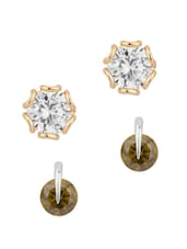 Stud Earrings Combo Adorned With CZ And Green Color Stone - Voylla