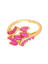 Gold Tone Cluster Ring Adorned With Pink Color Stones - Voylla
