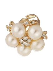 Shiny Floral Gold Tone Statement Ring With CZ And Pearls - Voylla