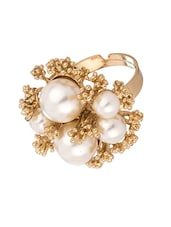 Shiny Floral Gold Tone Statement Ring With Pearls - Voylla