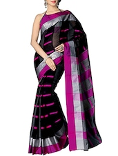 Black Cotton Saree - By