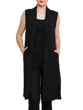Black Poly Cotton Sleeveless Shrug - By