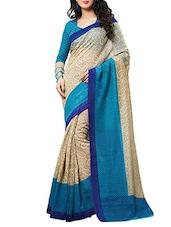 Beige, Blue Cotton Silk Saree - By