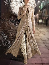 Beige Shimmer Semi-stitched Dress Material - By