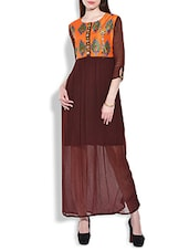 Brown Printed Yoke And Beaded Maxi Dress - By