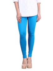 Solid Blue Cotton Lycra Leggings - By