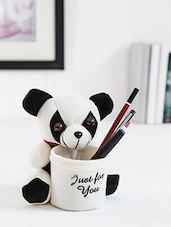 White Fur Soft Toy Pen Stand - By