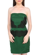 Green Lace Polyester Tube Dress - Globus