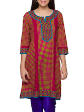 Multicolored Cut & Sew Printed Cotton Kurti - Globus