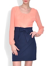 Pink And Blue Cotton And Spandex Plain Long Sleeved Belted Dress - By