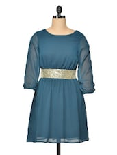 Green A Line Dress With Cluster Gold Waistband - Besiva