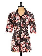Black Cotton Floral Printed Shirt - Ayaany