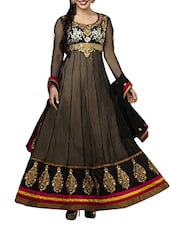 Black Faux Georgette Dress Material - By