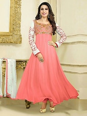 Peach Georgette Dress Material - By