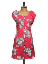 Red Crepe Floral Printed Dress - Ayaany