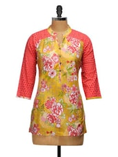 Yellow Cotton Floral Printed Shirt - Ayaany