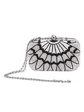 Silver And Black Beaded Clutch - By