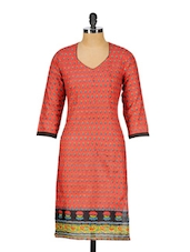 Three Quarter Sleeve Color Cotton Kurta - Rumara