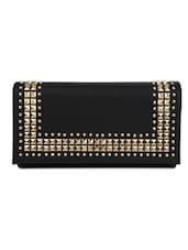 Black Leatherette Studded Clutch - By