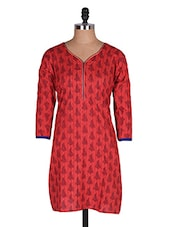 Regular Casual Red And Black 3/4th Sleeve Women's Kurti - Sale Mantra