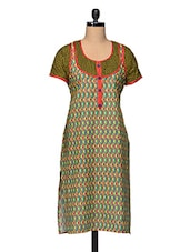 Printed Short Sleeve Round Neck Cotton Kurta - Enakshi