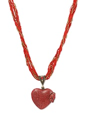 Red Beaded Multistr Chain With Heart Pendant Neckpiece - THE BLING STUDIO