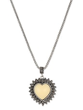 Antique Silver Chain With Off Whhite Heart Pendant - THE BLING STUDIO