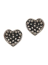 Antique Silver Embossed Heart Stud Earring - THE BLING STUDIO